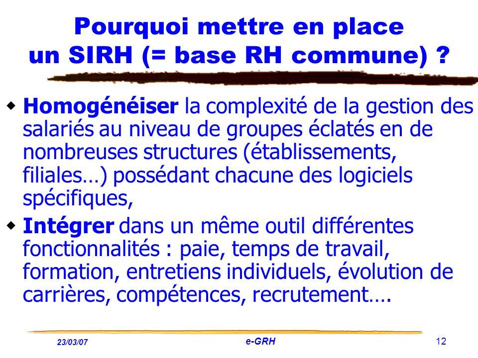 Pourquoi mettre en place un SIRH (= base RH commune)