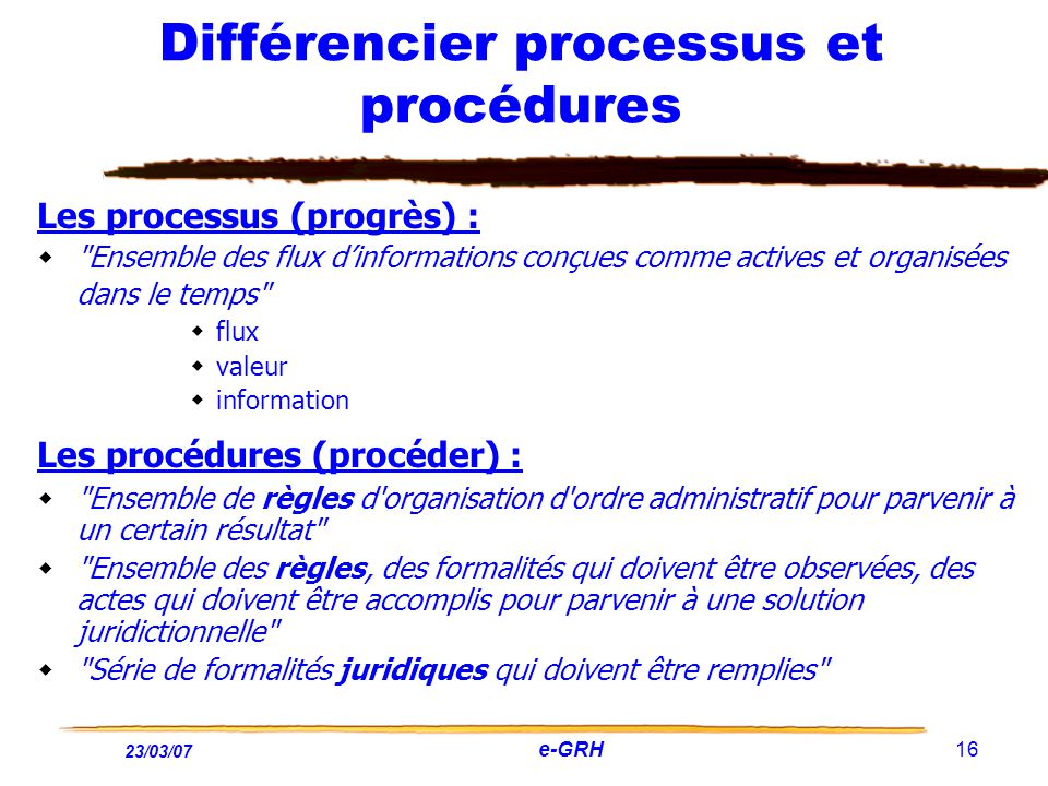 Différencier processus et procédures