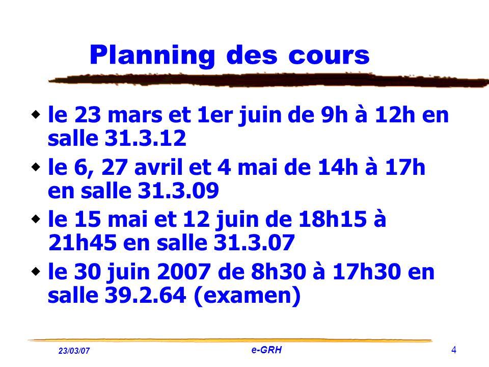 Planning des cours le 23 mars et 1er juin de 9h à 12h en salle 31.3.12