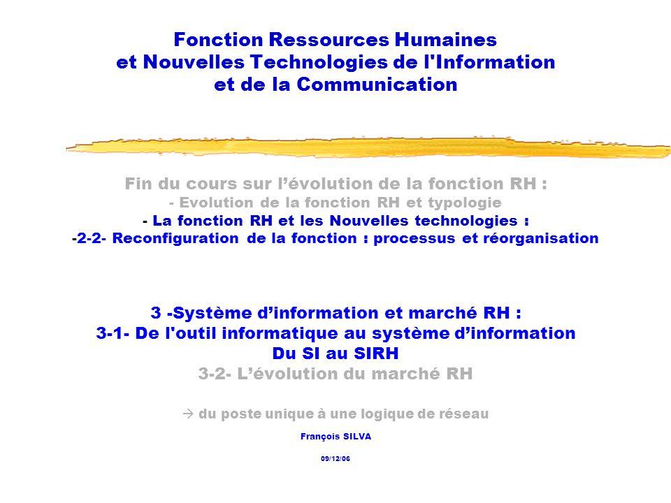 Fonction Ressources Humaines et Nouvelles Technologies de l Information et de la Communication
