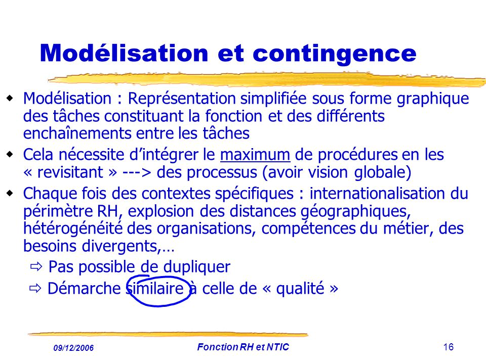 Modélisation et contingence