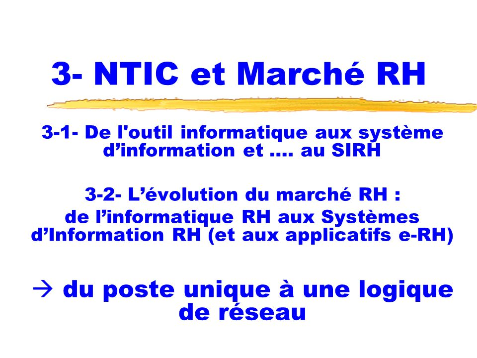 3- NTIC et Marché RH  du poste unique à une logique de réseau