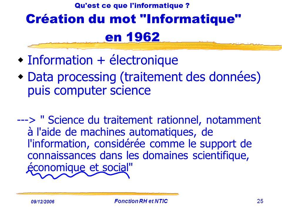 Qu est ce que l informatique Création du mot Informatique en 1962