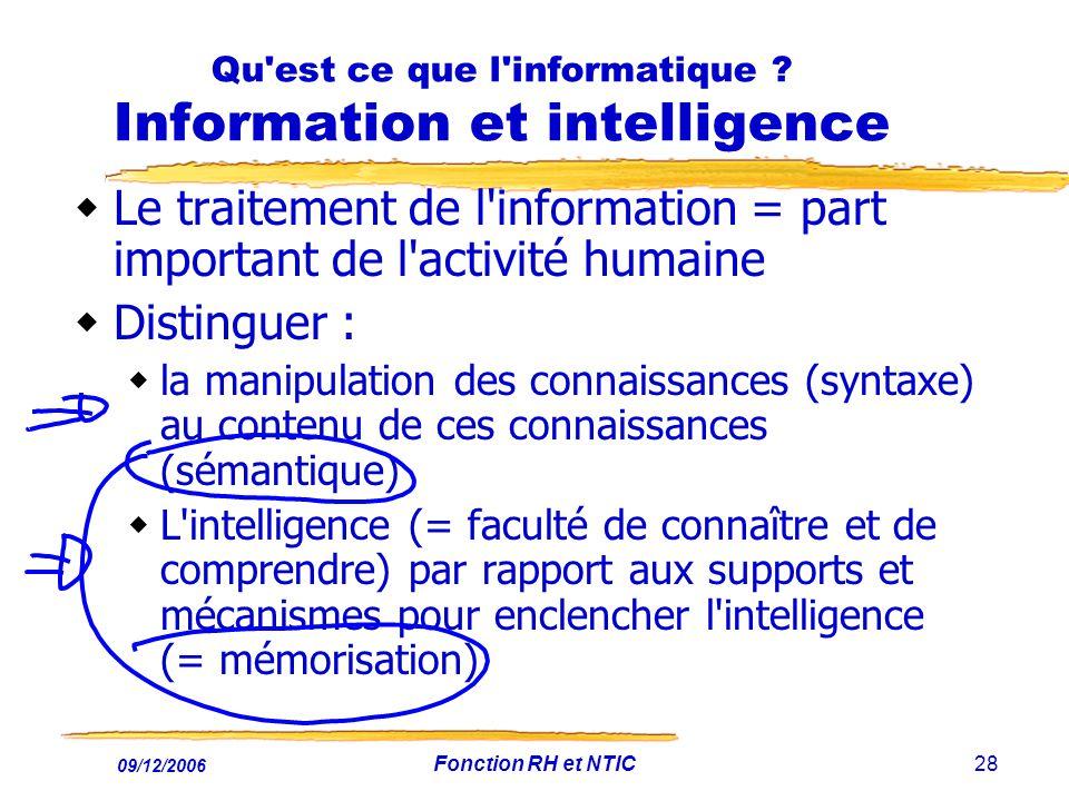 Qu est ce que l informatique Information et intelligence