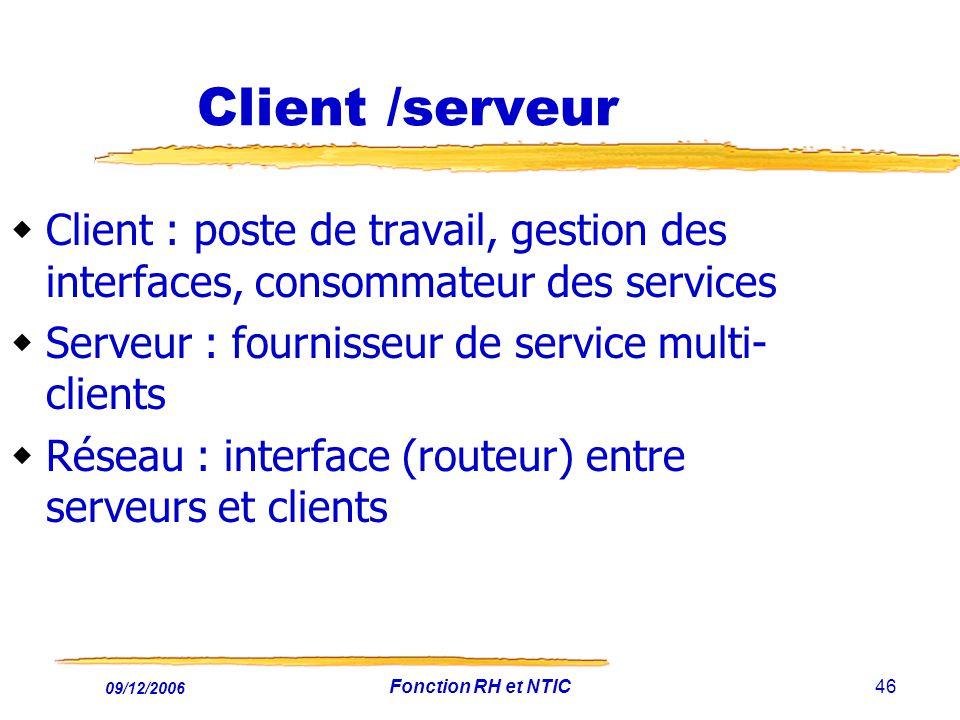 Client /serveur Client : poste de travail, gestion des interfaces, consommateur des services. Serveur : fournisseur de service multi-clients.