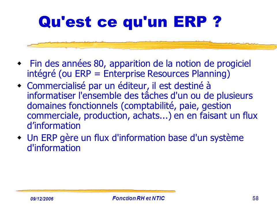 Qu est ce qu un ERP Fin des années 80, apparition de la notion de progiciel intégré (ou ERP = Enterprise Resources Planning)