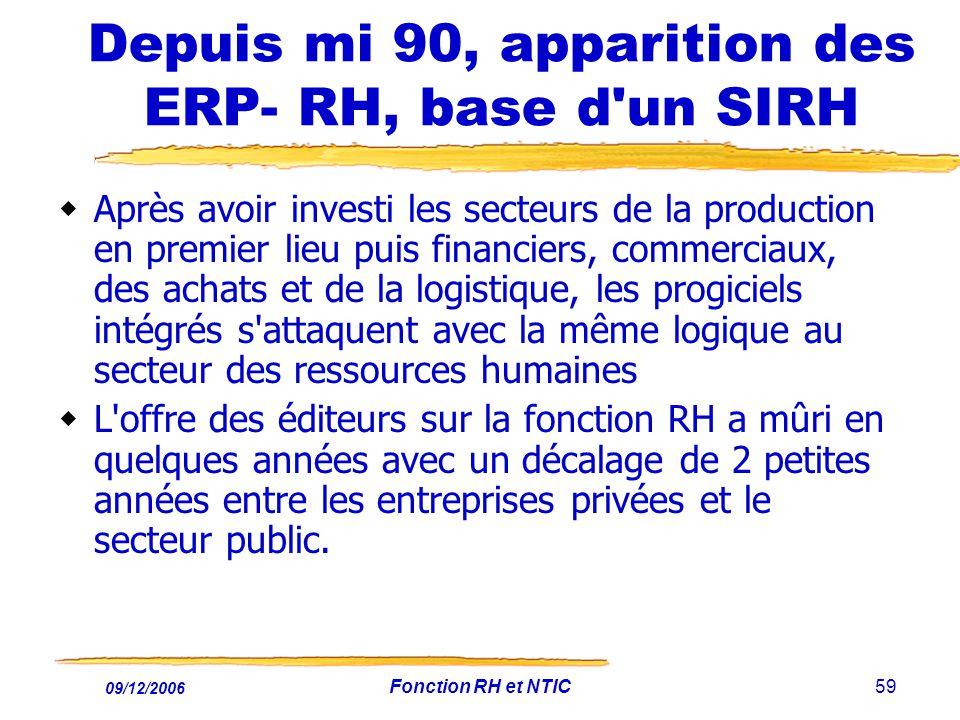 Depuis mi 90, apparition des ERP- RH, base d un SIRH