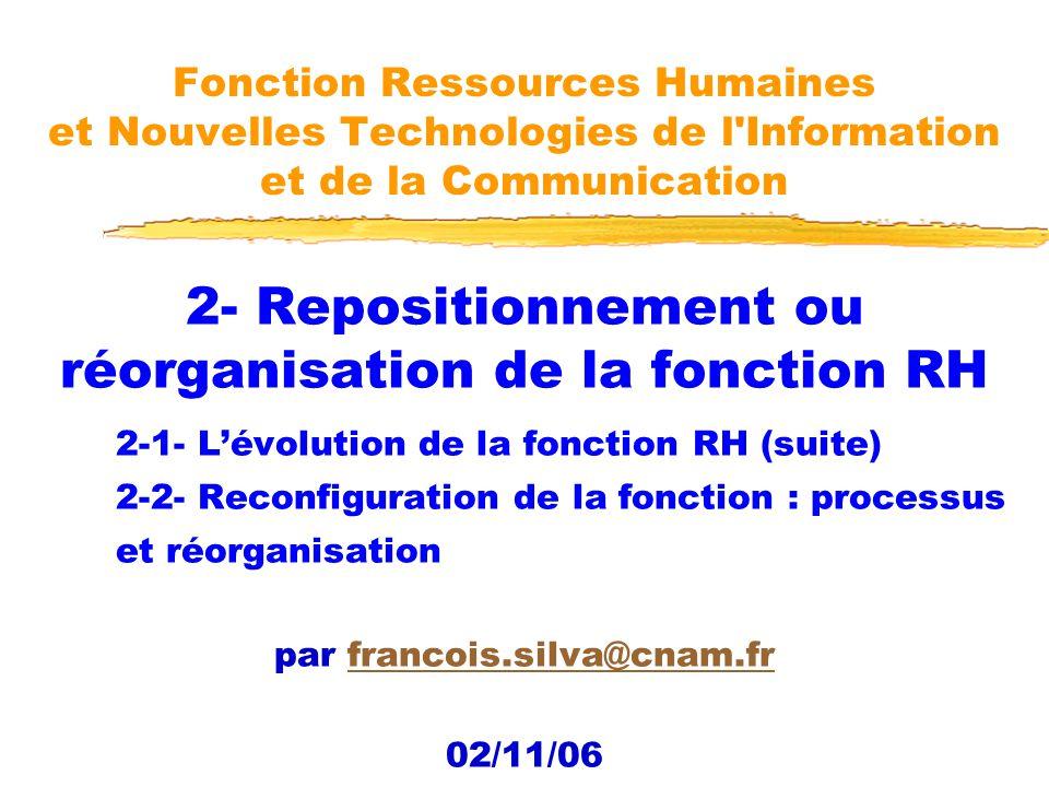 2- Repositionnement ou réorganisation de la fonction RH