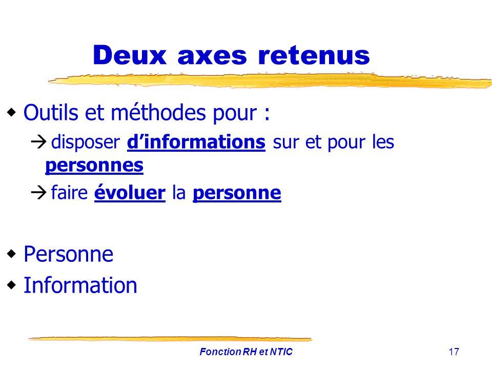 Deux axes retenus Outils et méthodes pour : Personne Information