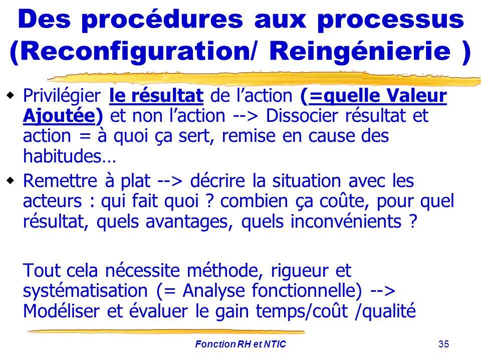 Des procédures aux processus (Reconfiguration/ Reingénierie )