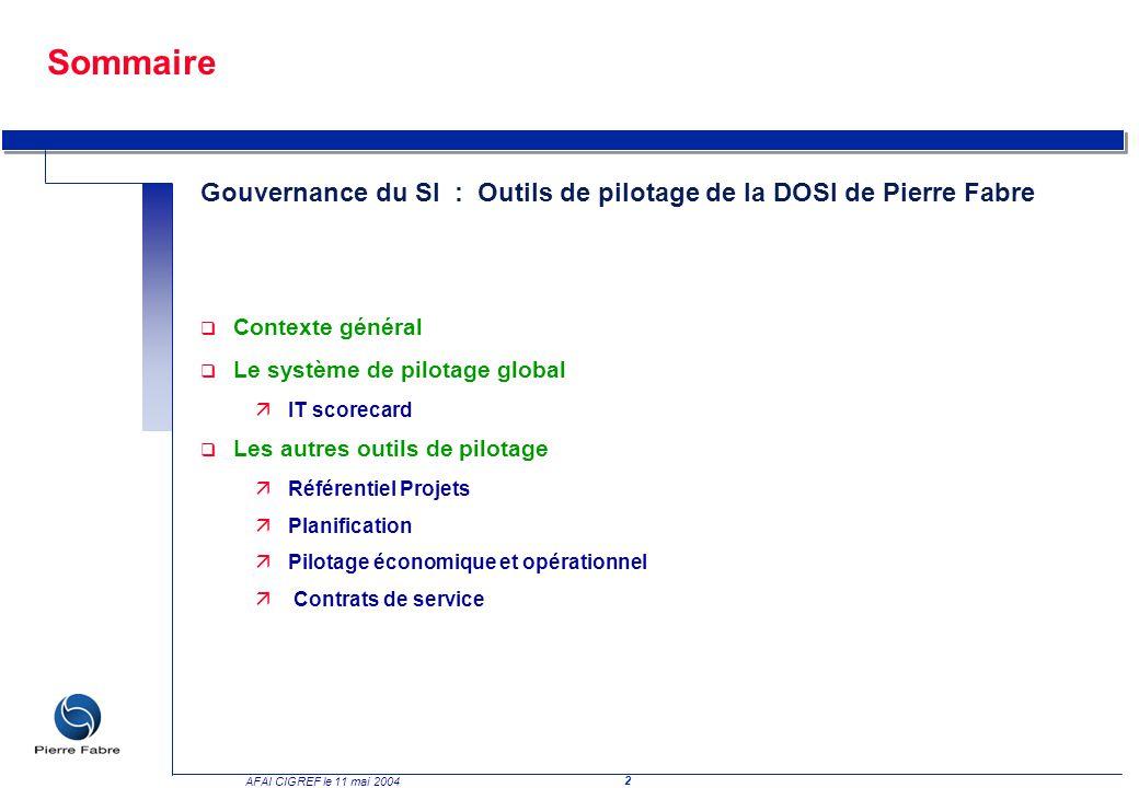 Sommaire Gouvernance du SI : Outils de pilotage de la DOSI de Pierre Fabre. Contexte général. Le système de pilotage global.