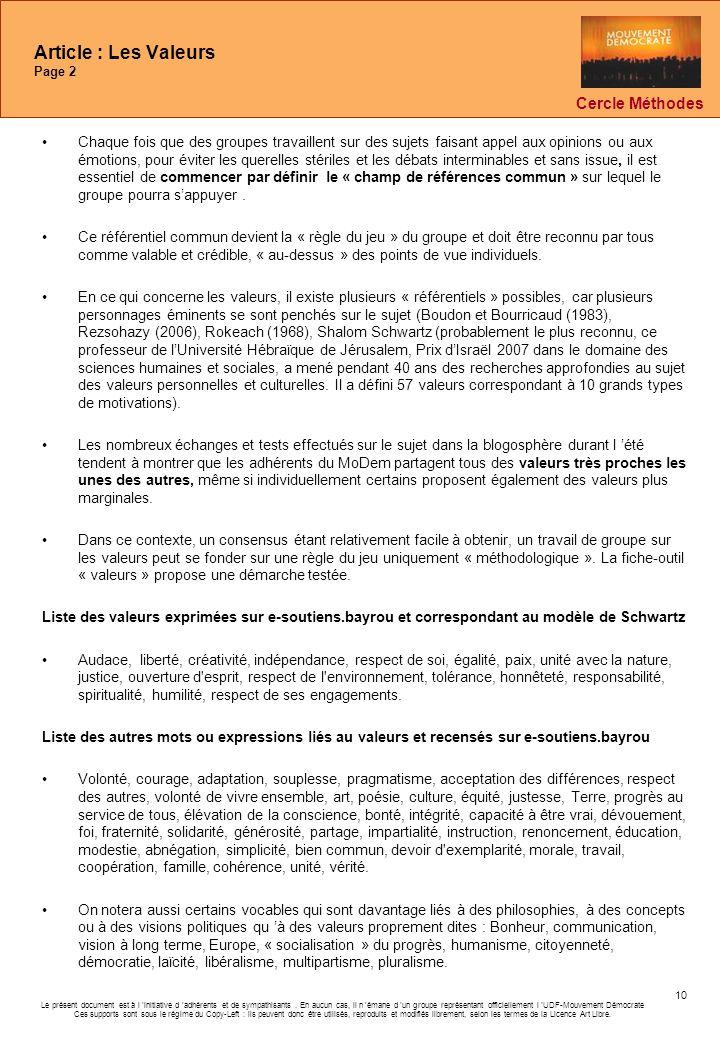 Article : Les Valeurs Page 2