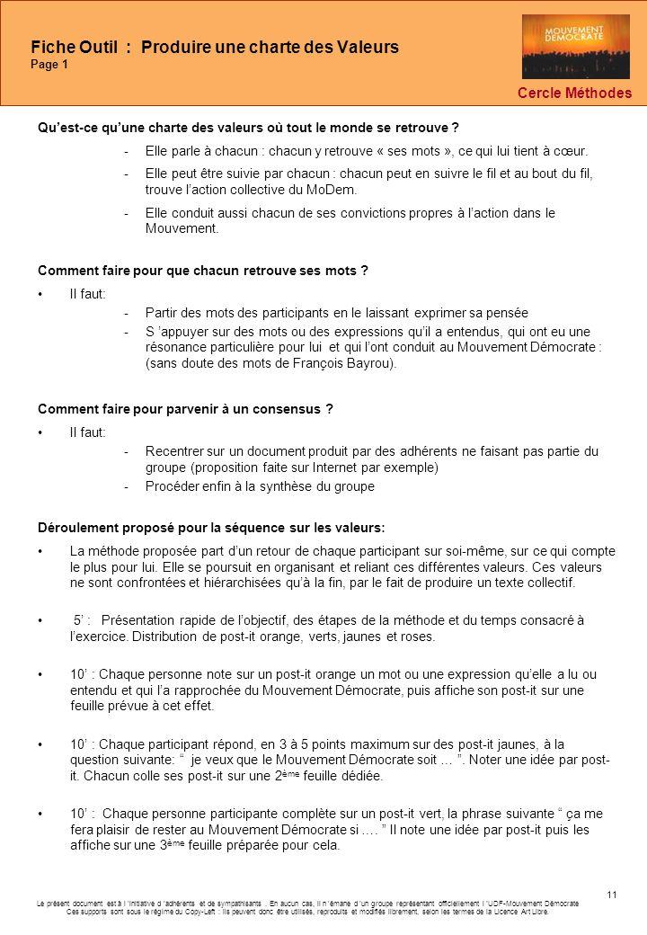 Fiche Outil : Produire une charte des Valeurs Page 1
