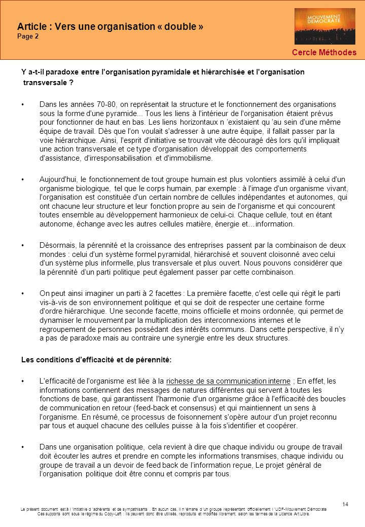 Article : Vers une organisation « double » Page 2