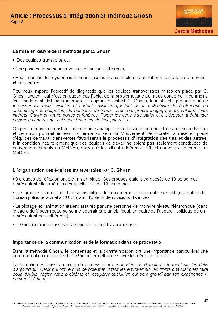 Article : Processus d 'Intégration et méthode Ghosn Page 2