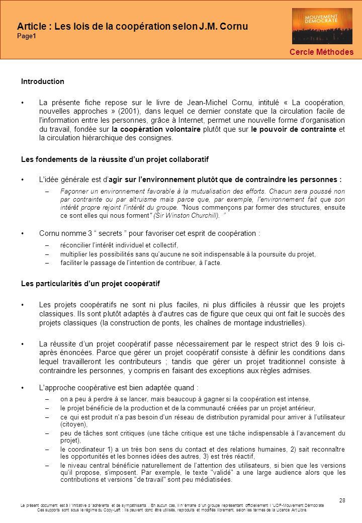 Article : Les lois de la coopération selon J.M. Cornu Page1