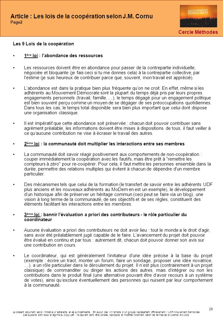 Article : Les lois de la coopération selon J.M. Cornu Page2