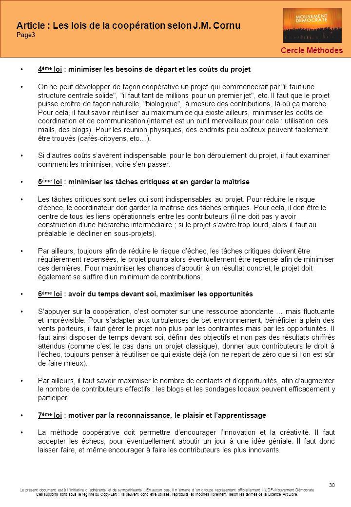 Article : Les lois de la coopération selon J.M. Cornu Page3