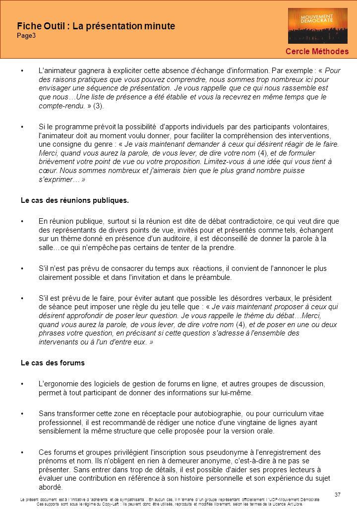 Fiche Outil : La présentation minute Page3