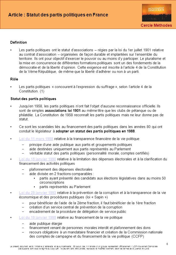 Article : Statut des partis politiques en France