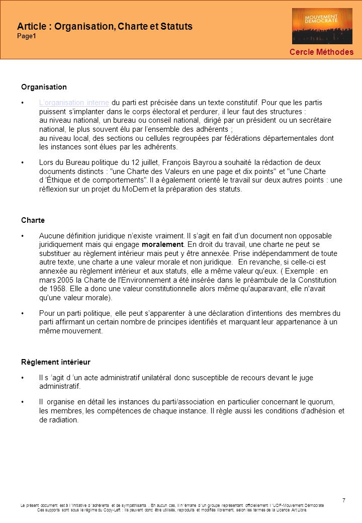 Article : Organisation, Charte et Statuts Page1