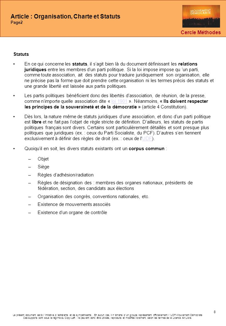 Article : Organisation, Charte et Statuts Page2