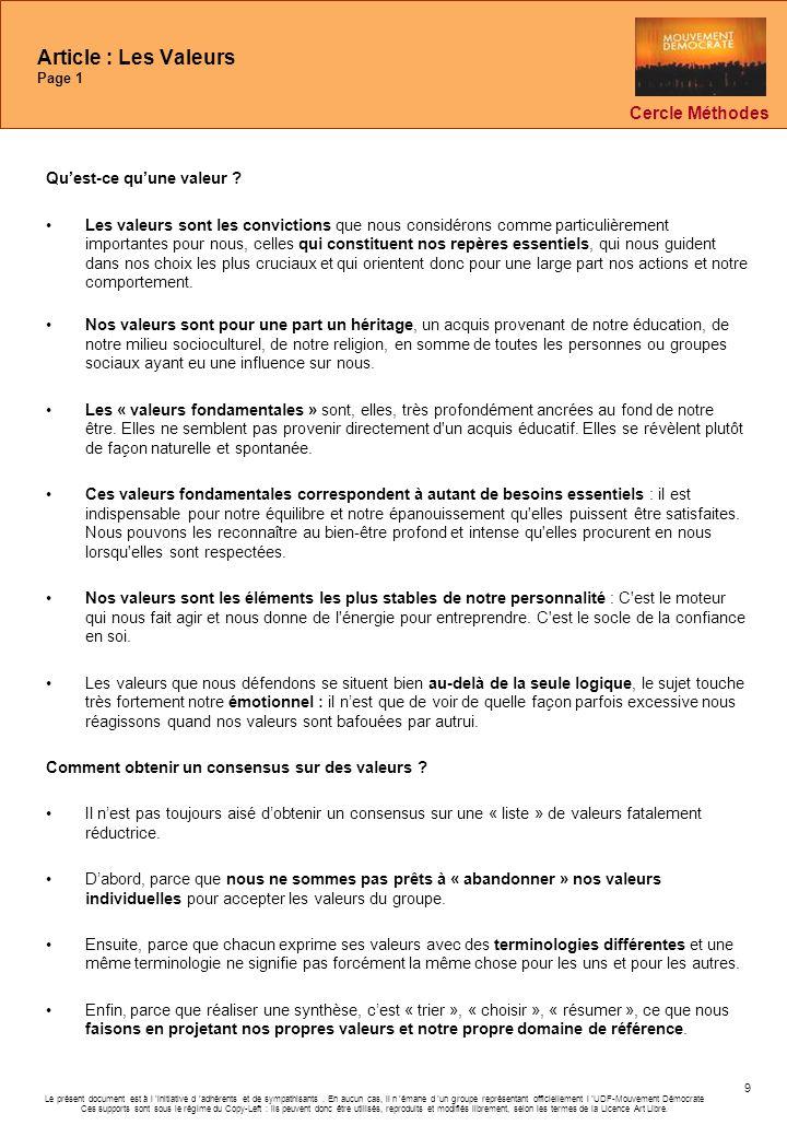 Article : Les Valeurs Page 1
