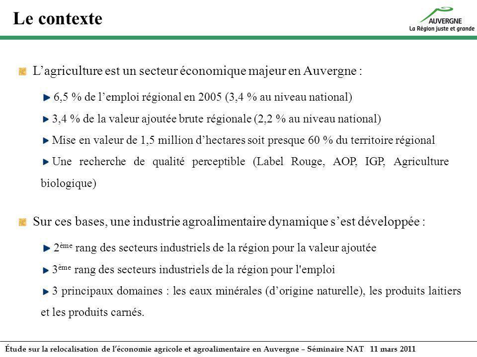 Le contexte L'agriculture est un secteur économique majeur en Auvergne : 6,5 % de l'emploi régional en 2005 (3,4 % au niveau national)