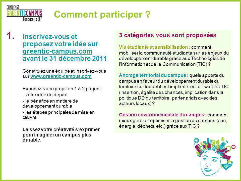Comment participer Inscrivez-vous et proposez votre idée sur greentic-campus.com avant le 31 décembre 2011.
