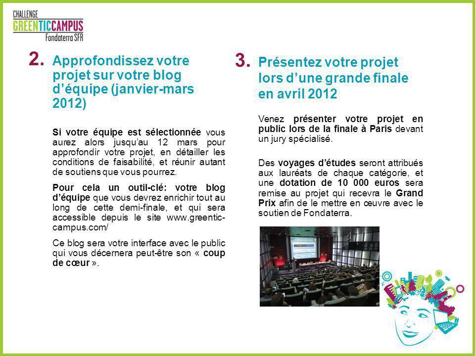 Présentez votre projet lors d'une grande finale en avril 2012