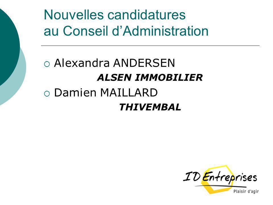Nouvelles candidatures au Conseil d'Administration