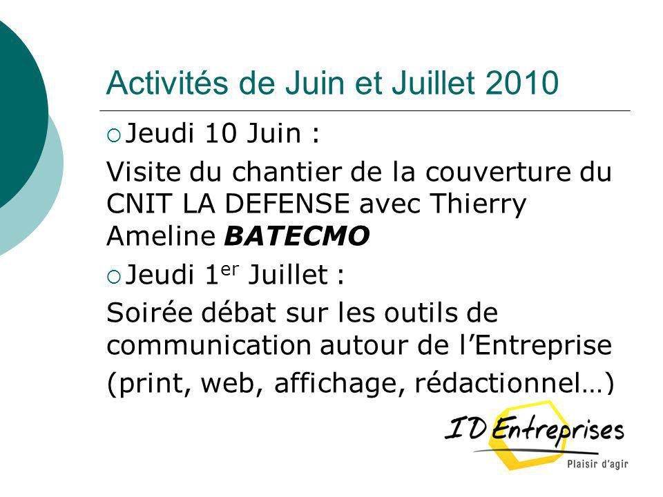 Activités de Juin et Juillet 2010