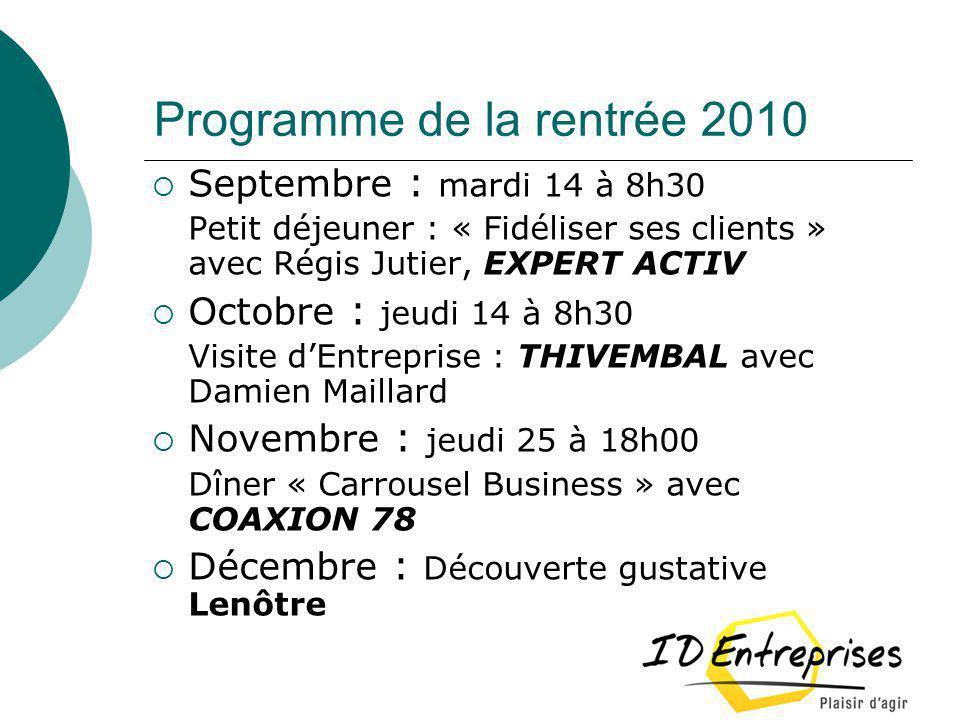 Programme de la rentrée 2010