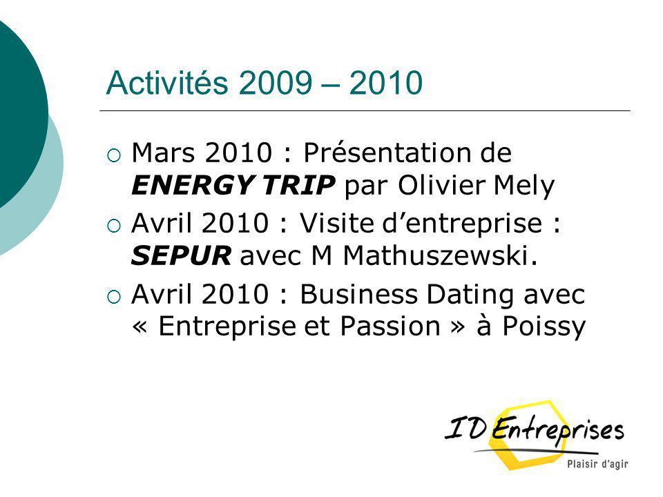 Activités 2009 – 2010 Mars 2010 : Présentation de ENERGY TRIP par Olivier Mely. Avril 2010 : Visite d'entreprise : SEPUR avec M Mathuszewski.