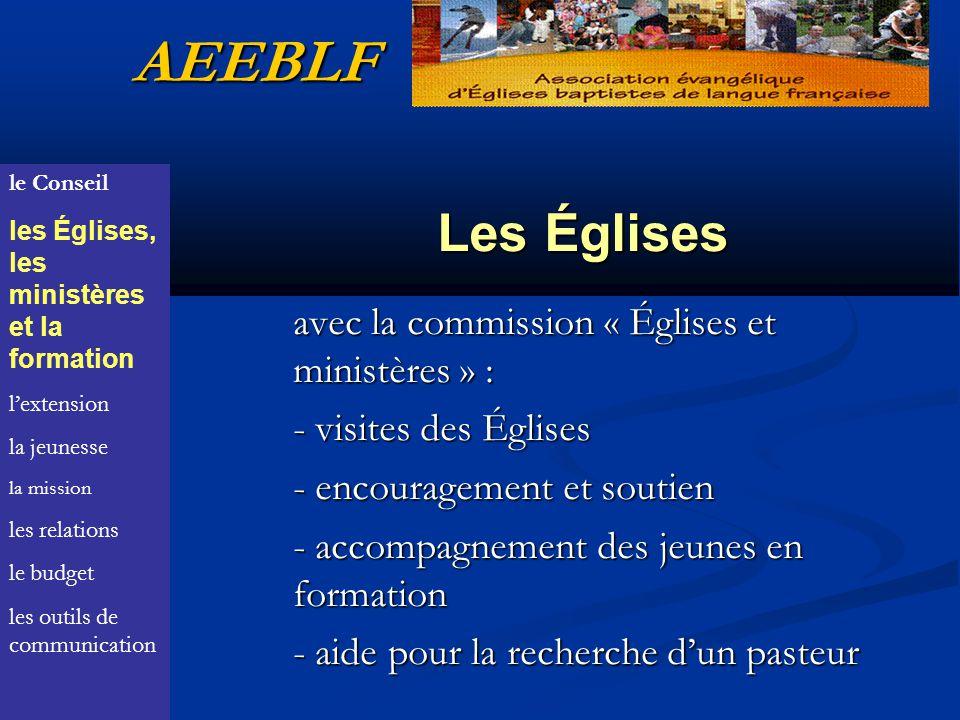 AEEBLF Les Églises avec la commission « Églises et ministères » :