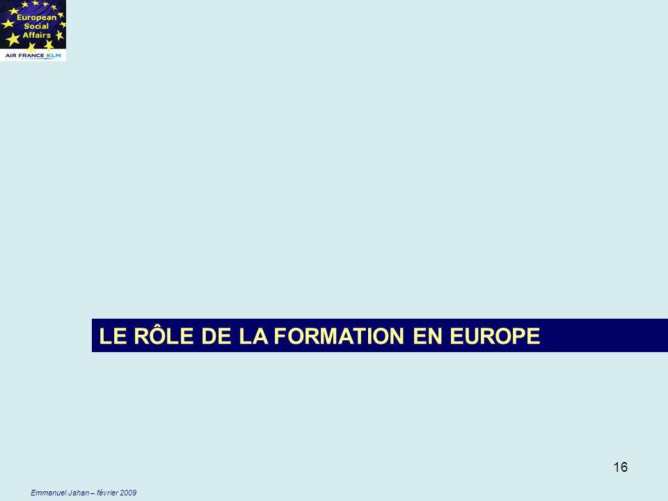 LE RÔLE DE LA FORMATION EN EUROPE