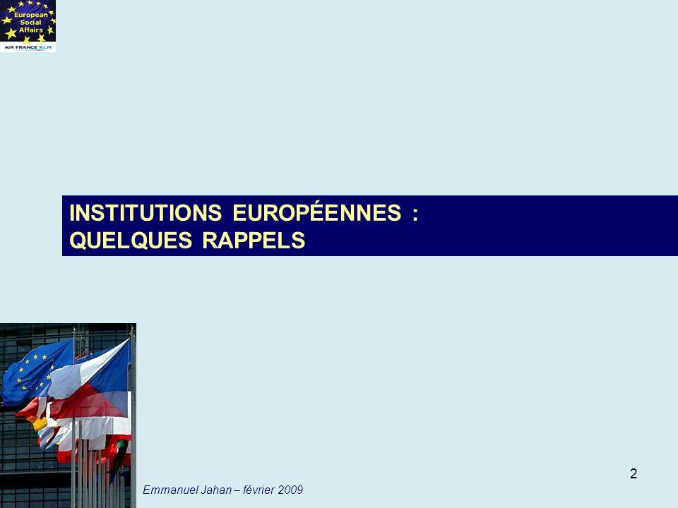 INSTITUTIONS EUROPÉENNES : QUELQUES RAPPELS