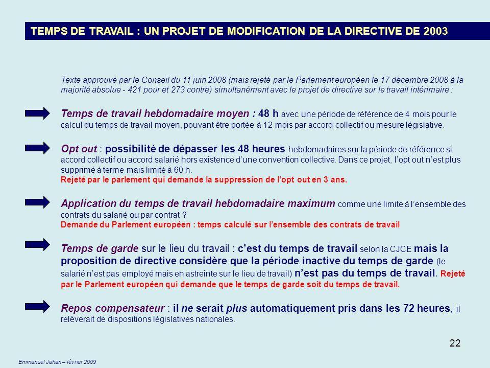 TEMPS DE TRAVAIL : UN PROJET DE MODIFICATION DE LA DIRECTIVE DE 2003