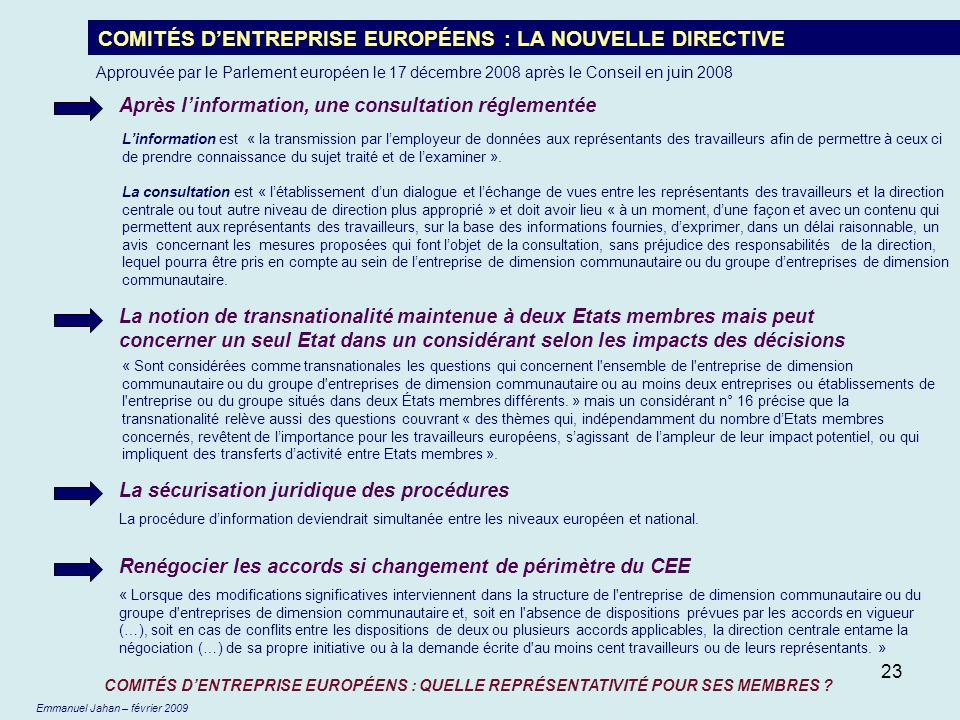 COMITÉS D'ENTREPRISE EUROPÉENS : LA NOUVELLE DIRECTIVE