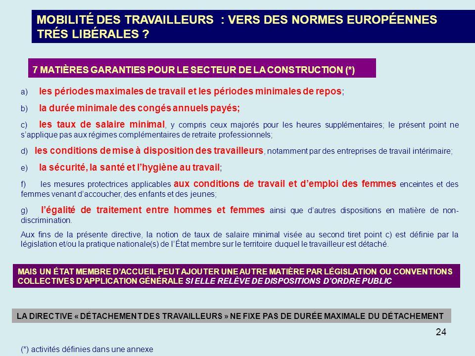 MOBILITÉ DES TRAVAILLEURS : VERS DES NORMES EUROPÉENNES TRÉS LIBÉRALES