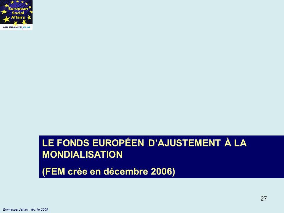 LE FONDS EUROPÉEN D'AJUSTEMENT À LA MONDIALISATION