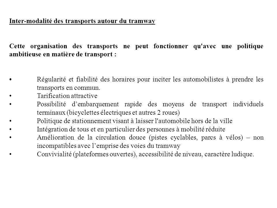 Inter-modalité des transports autour du tramway