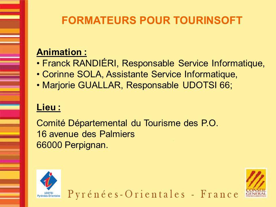 FORMATEURS POUR TOURINSOFT