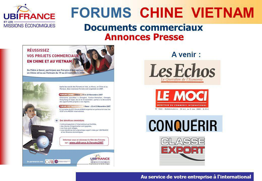 FORUMS CHINE VIETNAM Documents commerciaux Annonces Presse A venir :