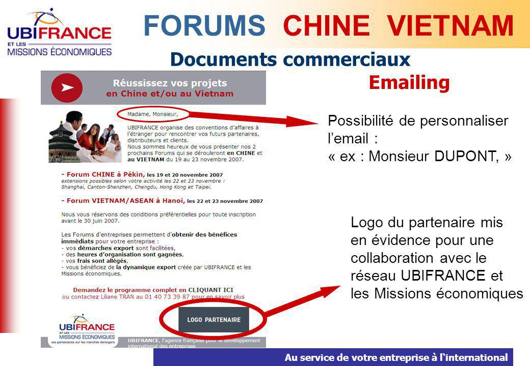 FORUMS CHINE VIETNAM Documents commerciaux Emailing