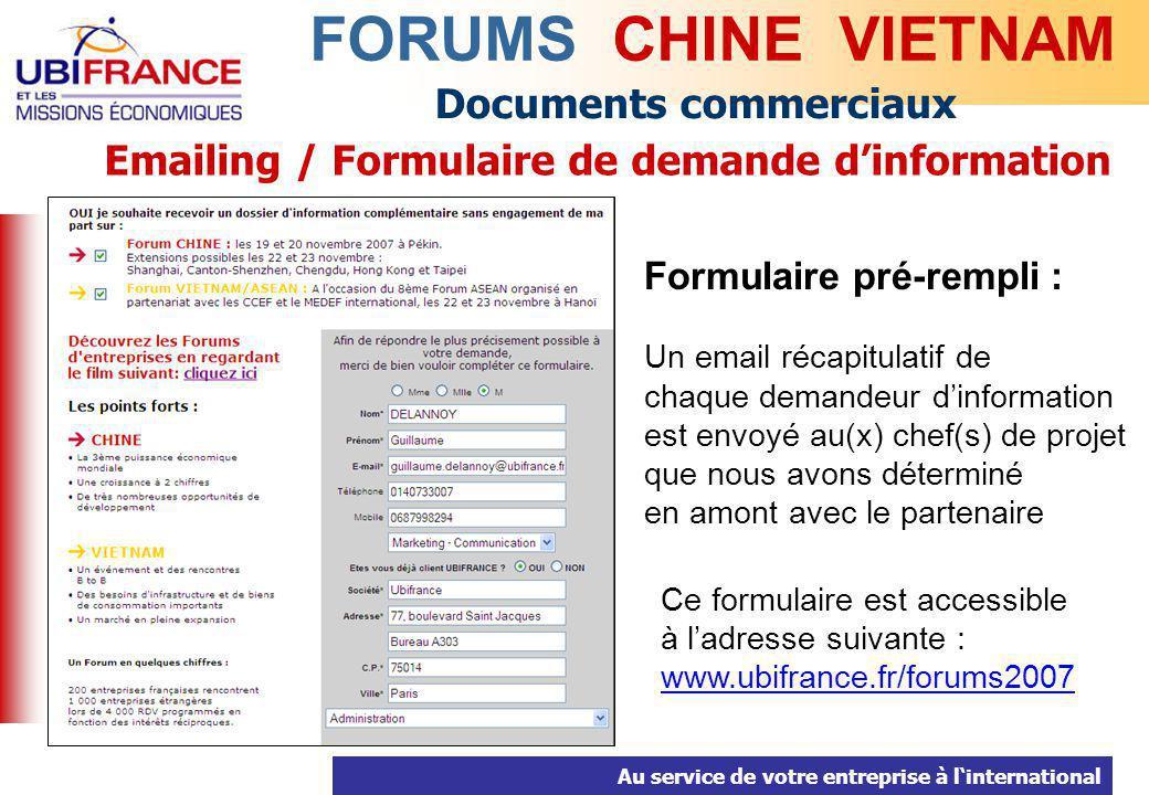 Emailing / Formulaire de demande d'information