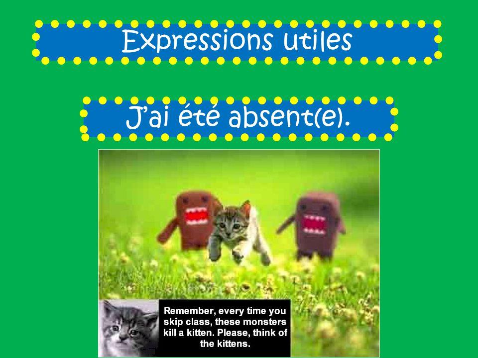 Expressions utiles J'ai été absent(e).
