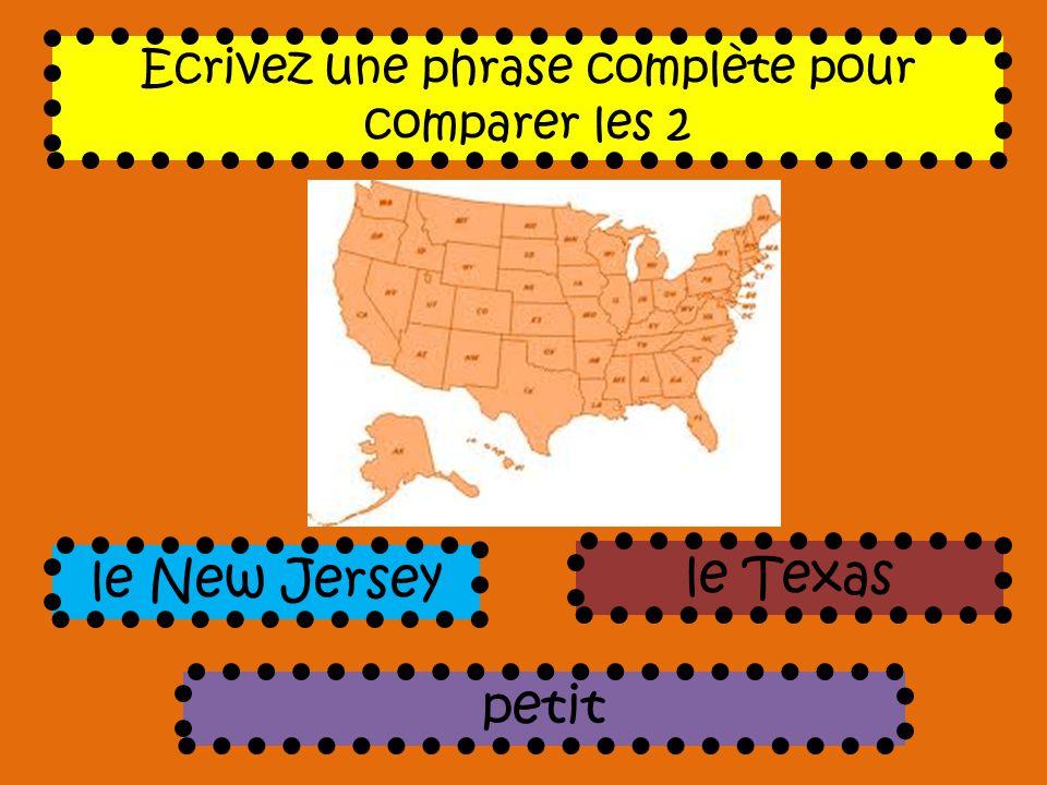 Ecrivez une phrase complète pour comparer les 2