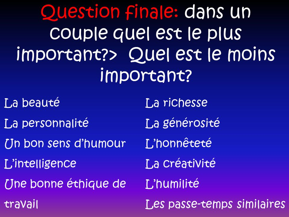 Question finale: dans un couple quel est le plus important