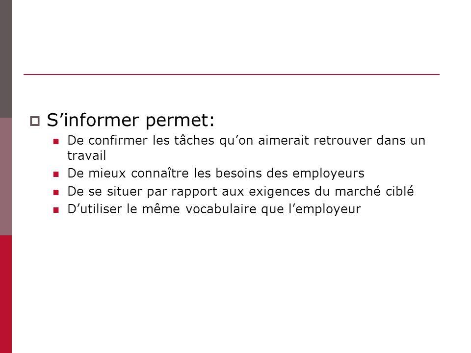 S'informer permet: De confirmer les tâches qu'on aimerait retrouver dans un travail. De mieux connaître les besoins des employeurs.